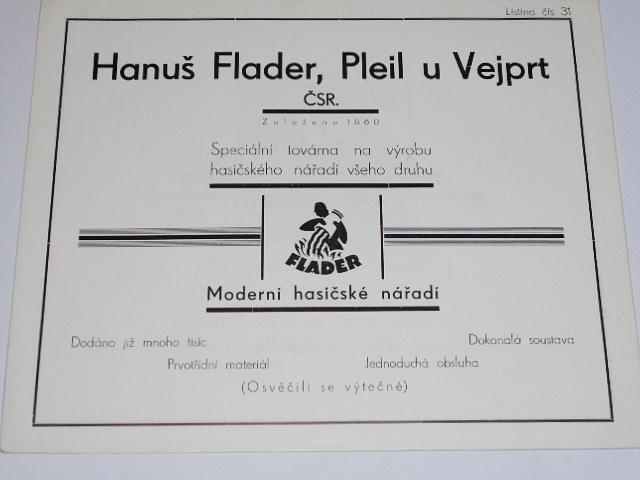Flader - moderní hasičské nářadí - prospekty - 1933