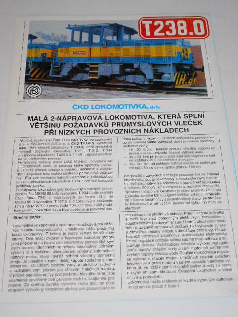 ČKD T 238.0 - malá 2-nápravová lokomotiva, která splní většinu požadavků průmyslových vleček... prospekt