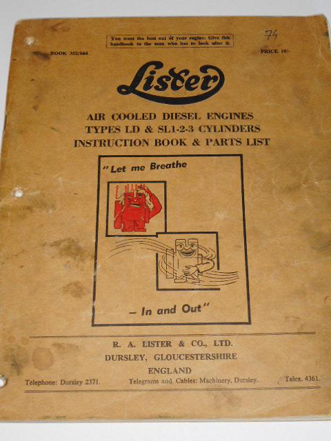 Lister - Air cooled diesel engines types LD a SL 1-2-3 cylindres instruction book a parts list - 1964