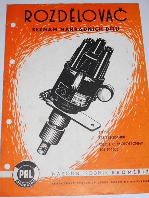 PAL - rozdělovač - seznam náhradních dílů - 1970