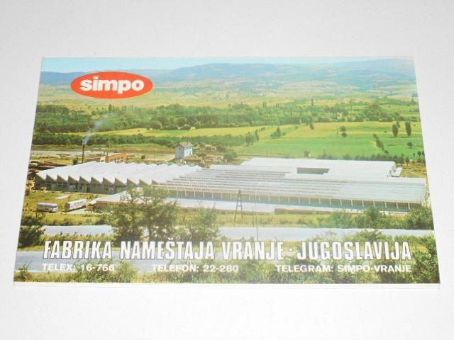 Simpo - Fabrika Nameštaja Vranje - Jugoslavija - prospekt - čalouněný nábytek