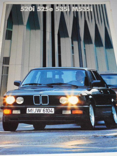 BMW 520i, 525e, 535i, M 535i - prospekt - 1987
