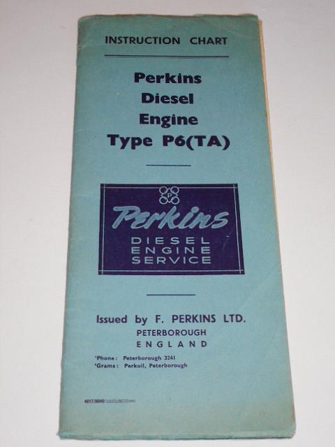 Perkins P6 (TA) diesel engine instruction chart top overhaul