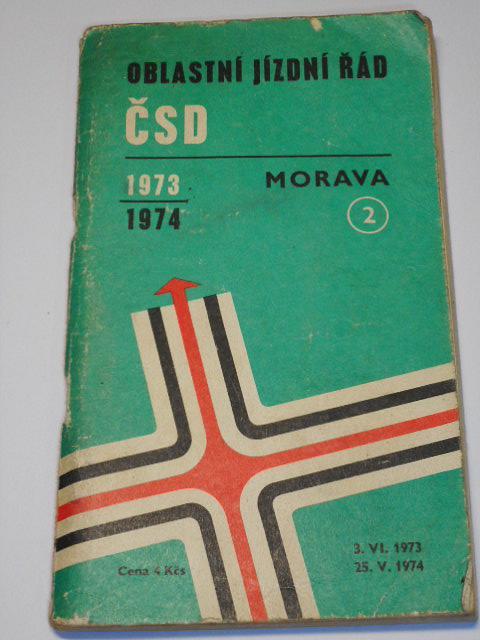 ČSD - oblastní jízdní řád - Morava - 1973 - 1974