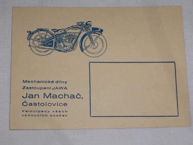 Jan Machač, Častolovice - zástupce Jawa - dopisnice