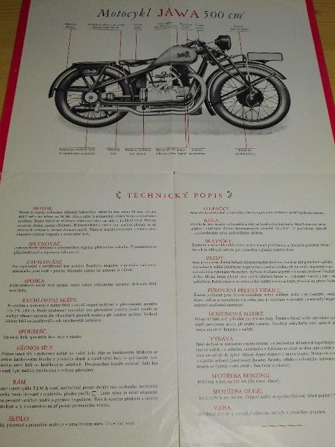 JAWA - motocykl JAWA obsahu 500 cm3 s dvojitým lisovaným ocelovým rámem a kardanovým převodem - JAWA 500 OHV Rumpál - prospekt - 1929