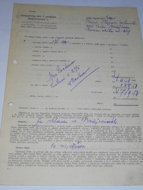 JAWA 175 - 1934 - objednávka + potvrzení
