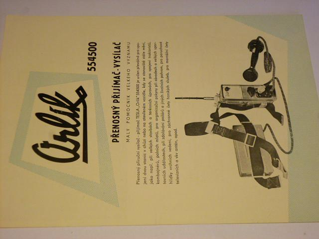 Tesla Orlík 554500 přenosný přijímač - vysílač - prospekt