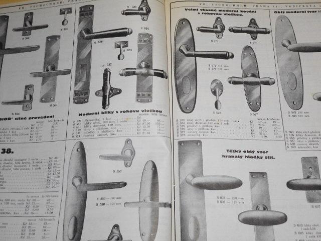 Fr. Tschochner, Praha - léto 1930 - oprava cen a dodatky k ceníku 1927 podzim - nábytkové kování, stavební kování, nástroje...