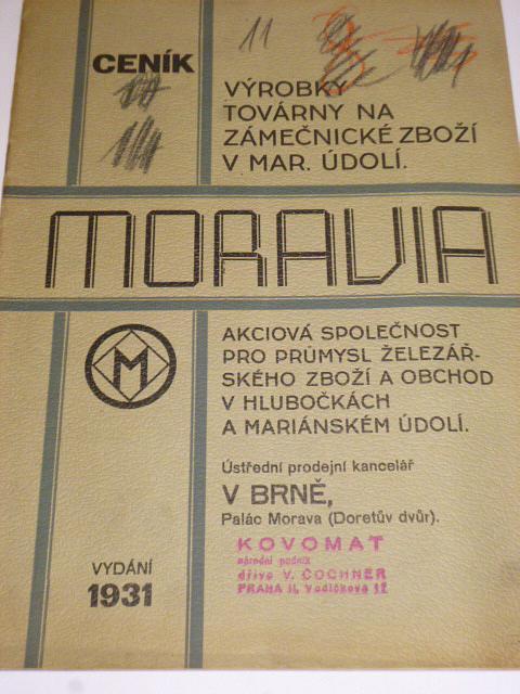 Moravia - ceník - výrobky továrny na zámečnické zboží - 1931