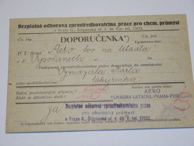 Aero továrna letadel Praha - Vysočany - dokumenty