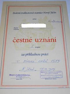 Čestné uznání I. stupně za příkladnou práci v zimní orbě 1959 - Strojní traktorová stanice Nový Jičín