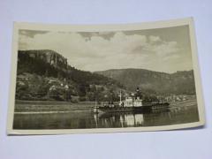 České Švýcarsko - Labe - Hřensko - parník - pohlednice