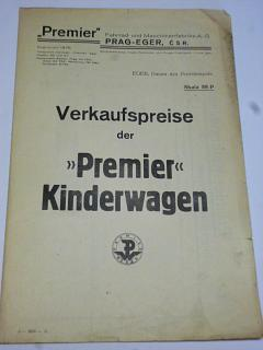 Premier -Verkaufspreise der Premier Kinderwagen - 1931