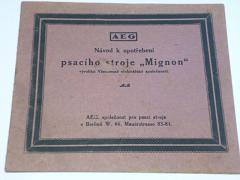 AEG Mignon model 3 - návod k upotřebení psacího stroje