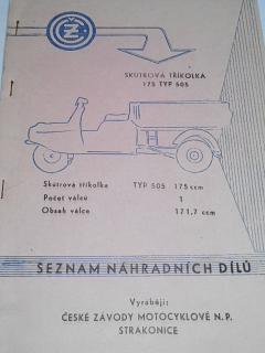 ČZ 175 typ 505 skútrová tříkolka - Čezeta - seznam náhradních dílů