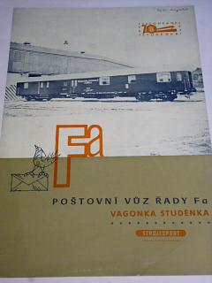 Vagónka Studénka - poštovní vůz řady Fa - prospekt - 1971 - Strojexport, Tatra