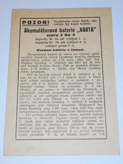Akumulátorová baterie Varta vzoru 3 de 4 - návod - 1937