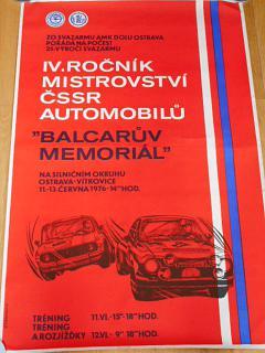 Balcarův Memoriál - IV.ročník mistrovství ČSSR 1976 - plakát