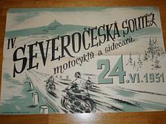 IV. severočeská soutěž motocyklů a sidecarů 24. VI. 1951 - plakát