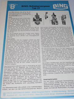 Bing - Schiebervergaser Typ 21 - prospekt - 1981