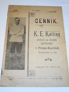 K. E. Kotting, Praha Karlín - obchod se zbožím sportovním - cenník 1904