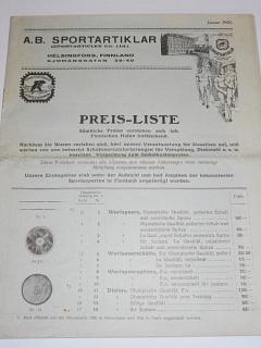 A. B. Sportartiklar - Preis - Liste - 1925