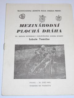 XV. roč. memoriálu Luboše Tomíčka - 26. 9. 1983 Praha Markéta - mezinárodní závod na ploché dráze - program + startovní listina
