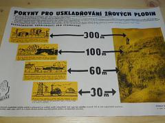 Pokyny pro uskladňování žňových plodin - plakát - 1953