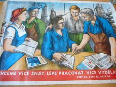 Chceme více znát, lépe pracovat, více vydělávat - učit se, učit se, učit se - V. I. Lenin - plakát