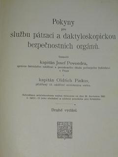 Pokyny pro službu pátrací a daktyloskopickou bezpečnostních orgánů - Josef Povondra, Oldřich Pinkas - 1922