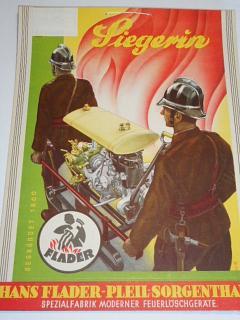 Flader - Siegerin - hasič, střílačka - papírová reklama - 1935