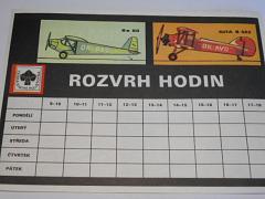 Rozvrh hodin - Česká státní pojišťovna - letadla Avia, Aero, Letov, Praga