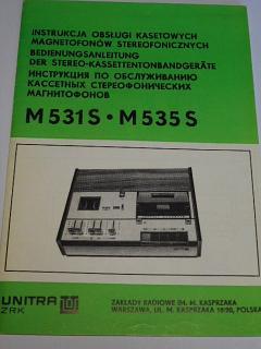 Tesla - M 531 S - návod k obsluze magnetofonu - 1979