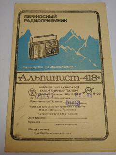 Alpinist - 418 - rádio - návod k obsluze - 1981