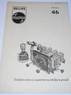 Philips - tříelektronkový superhet na střídavý proud - schema 46