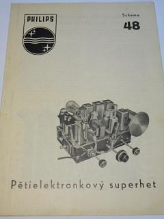 Philips - pětielektronkový superhet - schema 48
