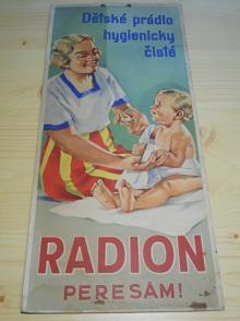 Radion pere sám! dětské prádlo hygienicky čisté - papírová reklama