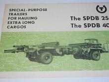 SPDB 25, SPDB 40 - special-purpose trailers for hauling extra long cargos - prospekt - Transporta Chrudim - Motokov - Tatra 141