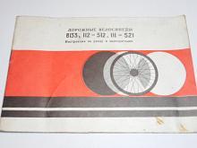 Jízdní kola V 133, 112 - 512, 111 - 521 - návod k obsluze - 1979 - rusky