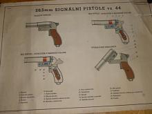 Signální pistole vz. 44 - 26,5 mm - výukový obraz - plakát - 1956