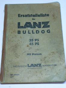 LANZ Bulldog 35 PS 45 PS - Ersatzteileliste - 1937