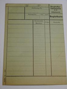 Tatra - Ringhoffer - Tatrawerke A. G. - Begleitkarte - 1944