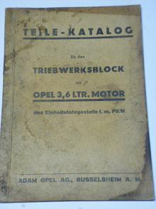 Opel Teile Katalog für den Treibwerksblock mit 3,6 ltr.motor