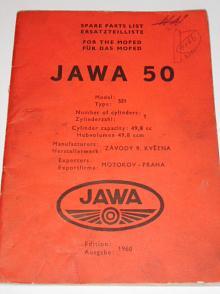 JAWA 50 - 551 - Jawetta - Moped - Spare parts list - Ersatzteilliste - 1960