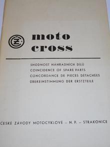 ČZ motocross - shodnost náhradních dílů - 360/969/01, 250/980/01, 250/980/04, 250/980/07, 380/981/01, 380/981/04, 125/984/03, 125/984/05 - 1973