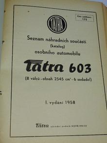 Tatra 603 - seznam náhradních součástí - 1958