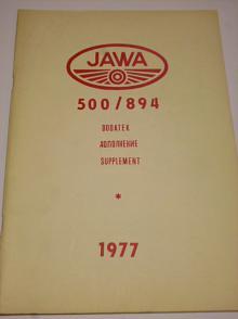 JAWA 500/894 - návod + seznam dílů - dodatek - 1977