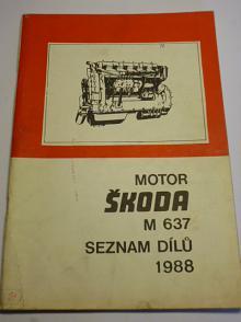Škoda M 637 - motor - seznam dílů - 1988