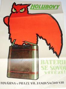 Holubovy baterie se sovou vízězí - továrna v Praze VII - leták - plakát
